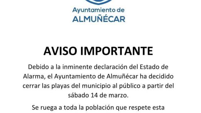 Almuñécar cierra las playas del municipio por alerta del COVID19